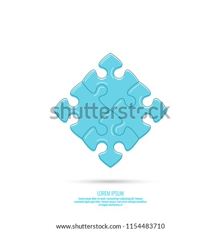 Vector icon with Jigsaw puzzle pieces.