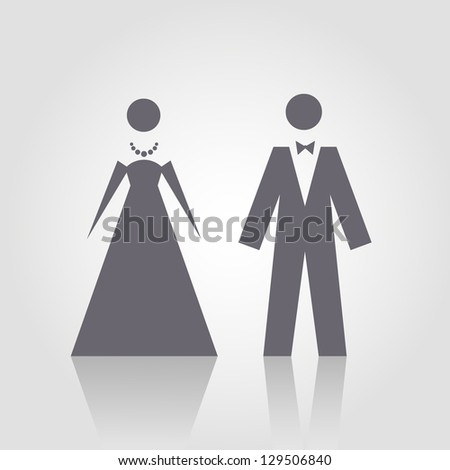 Vector icon with man and woman. Simple illustration with figures of peoples. Stylized silhouettes of person in evening dress. Abstract sign for print and web
