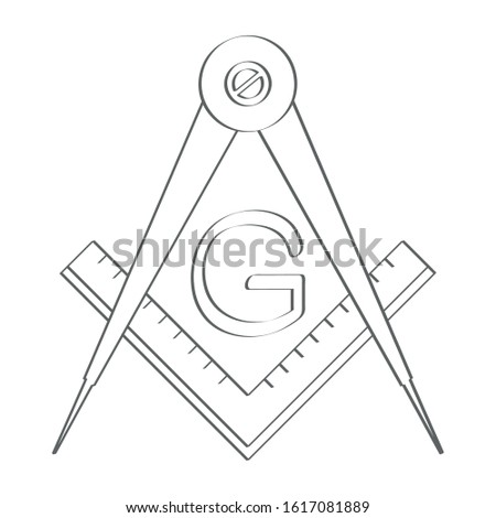 vector icon with  Masonic Square and Compass