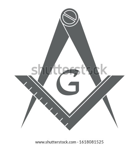 vector icon with Masonic Square and Compass for your design
