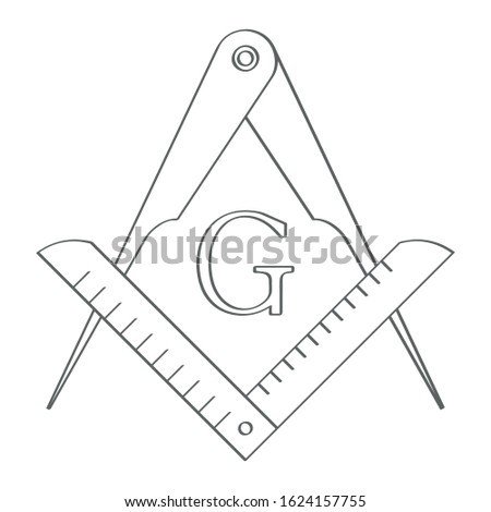 vector icon with Masonic Square and Compasses