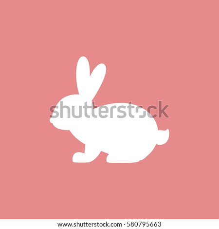 Vector icon with rabbit. White rabbit on pink background. Easter bunny. Flat design.