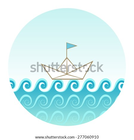 Vector icon with sea, waves, sky, paper ship. Concept of travel, adventure. Original circle design element. Illustration for print, web