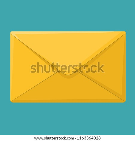 Vector icon yellow envelope. The postal envelope illustration is in a flat style.