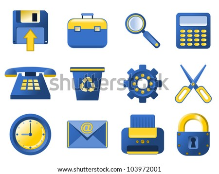 Vector Icons - blue and yellow Blue and yellow stylized icons for your website, application and other design.