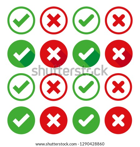 Vector Icons Check mark and Wrong. Approved symbols Smooth and smooth design for the web or mobile app.