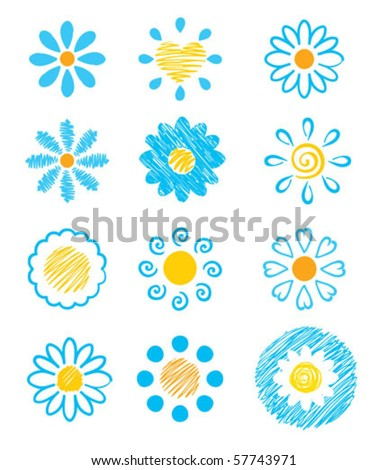 Vector icons - flowers