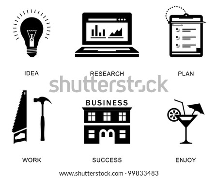 Vector icons for a business success process