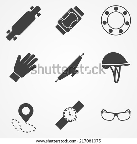 Vector icons for accessories for longboarders. Set of black silhouette vector icons with symbols of protection for longboarding or other extreme sport.
