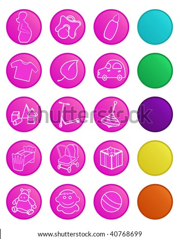 Vector icons for baby shop. Icons with bottom layer variants