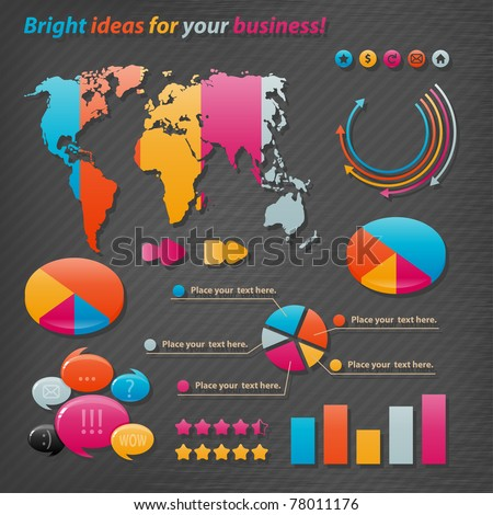 Vector icons for business presentations and reports.