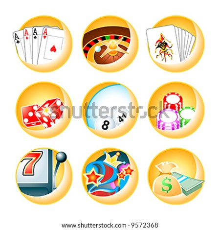 Vector icons for casino games: roulette, poker, blackjack, keno, slot, videopoker