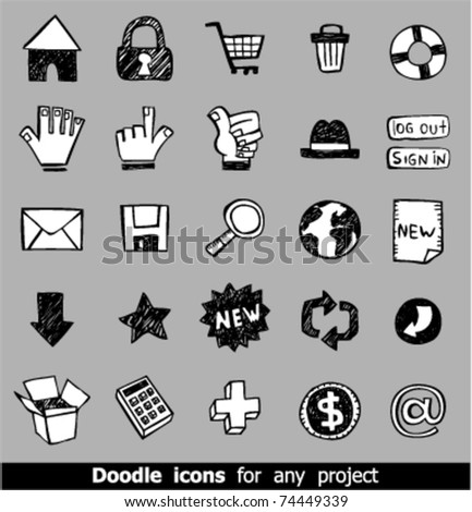 Vector Icons for Web Applications. Web, media, shopping and other.