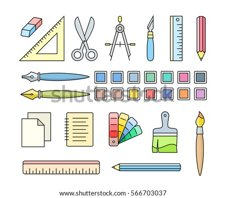 Vector icons of art and office supplies. Drawing and painting tools for workshop. Vector illustration.
