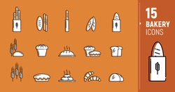 Vector icons of bakery products, bread, baguettes, rye, grain bread, wheat, loaves. Polygonal icons. Icons in a flat style.