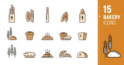 Vector icons of bakery products, bread, baguettes, rye, loaves. Polygonal icons. Icons in a flat style.