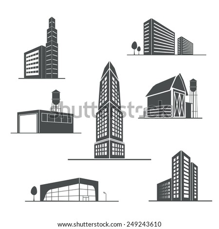 Vector icons of buildings