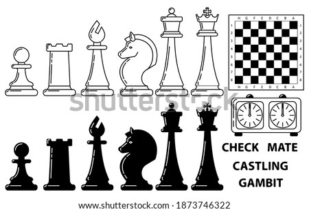 Vector icons of chess pieces white and black, chessboard, clock on a white background. Sports game, strategy, victory. Сток-фото ©