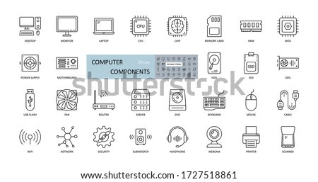 Vector icons of computer components. Editable Stroke. Parts of a PC, such as RAM memory, hdd ssd cpu processor. Keyboard mouse headphone speakers, laptop monitor server. Webcam printer scanner Сток-фото ©