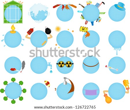 Vector Icons of Environmental Change / Global warming