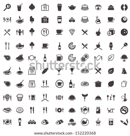 vector icons of food, sweets, meat, drinks and other