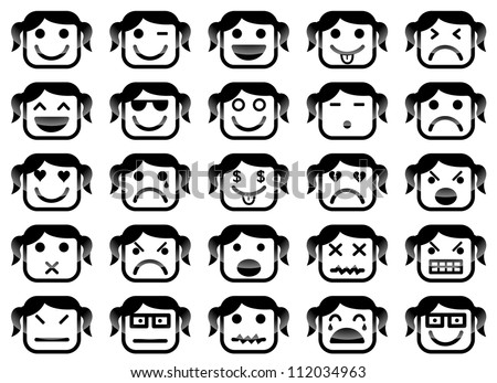Vector icons of girl smiley faces