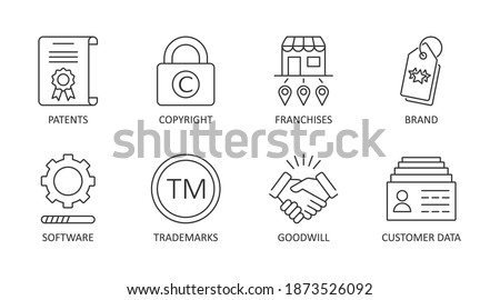 Vector icons of intangible assets. Editable stroke. Business set symbols patents copyright franchises goodwill trademarks brand names self-developed software licenses. Isolated on a white background. Stockfoto ©