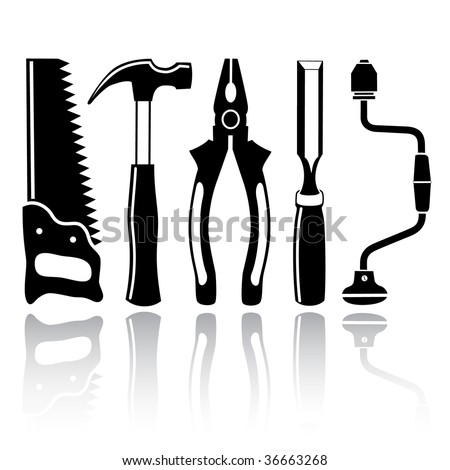 vector icons of joiner's tools