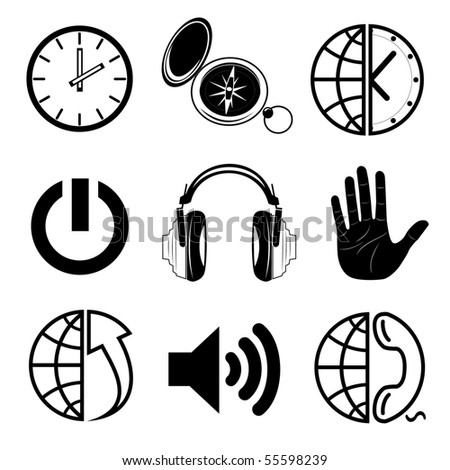 Vector icons of media