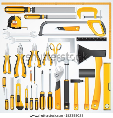 Vector Icons of Modern Hand Tools. Instruments Collection for Metalwork, Woodwork, Mechanical and Measuring Works.
