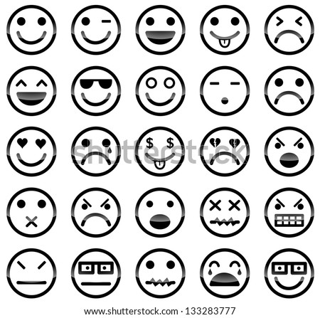 Vector icons of smiley faces