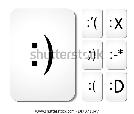 Vector icons of smiley faces on cards