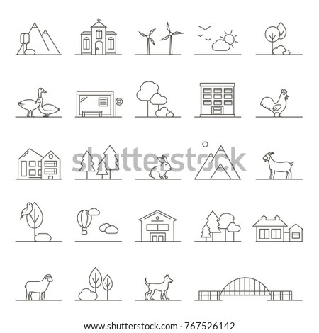 Vector Icons of Town, Countryside and Farm Lands in Linear Style. Isolated graphic elements: church, horse, cow with calf, haystack, buildings, weather and farm animals. Rural landscape details.