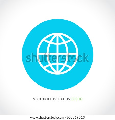 Vector icons on abstract background with blue circle