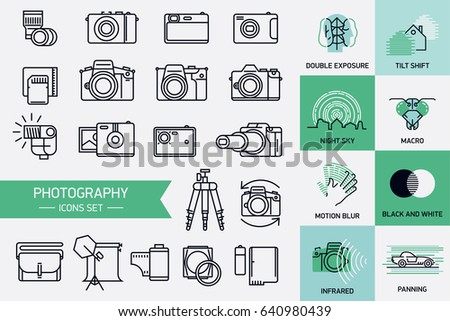vector icons on photography