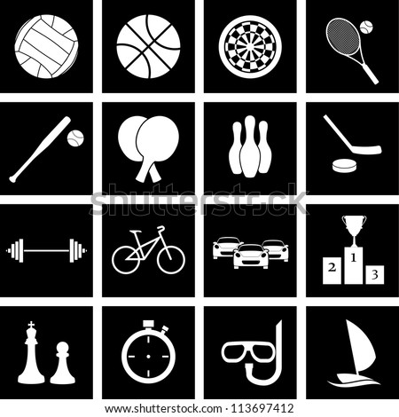 Vector icons on the theme of sport