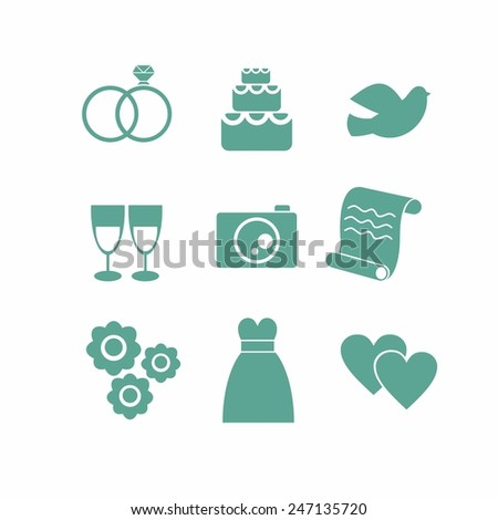 vector icons on the theme of the wedding in a simple flat style