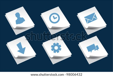 Vector icons on white paper document