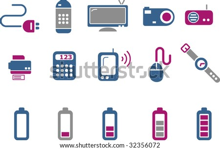 Vector icons pack - Blue-Fuchsia Series, electronic collection