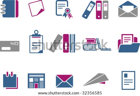 Vector icons pack - Blue-Fuchsia Series, paper collection
