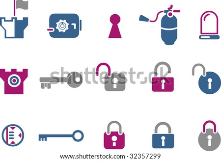 Vector icons pack - Blue-Fuchsia Series, security collection