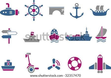 Vector icons pack - Blue-Fuchsia Series, transport collection