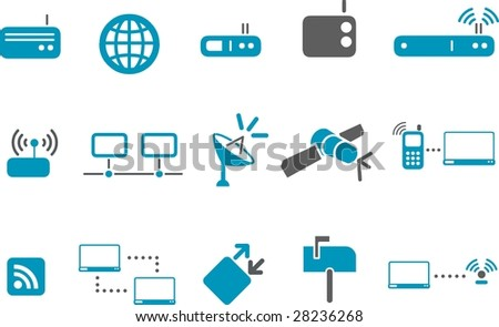 Vector icons pack - Blue Series, communication collection