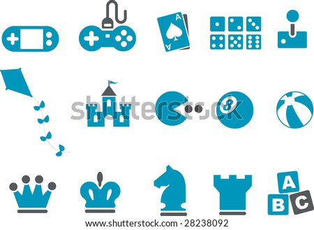 Vector icons pack - Blue Series, game collection