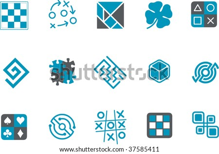 Vector icons pack - Blue Series, jigsaw collection