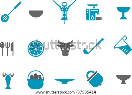 Vector icons pack - Blue Series, kitchen collection