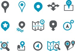 Vector icons pack - Blue Series, maps collection