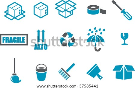 Vector icons pack - Blue Series, moving collection