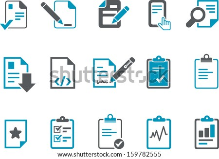 Vector icons pack - Blue Series, office docs collection
