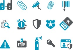 Vector icons pack - Blue Series, security collection